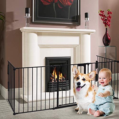 charaHOME Fireplace Fence Baby Safety Gate 121-Inch Wide Adjustable 5-Panel Folding Metal Play Yard for Baby/Pet/Dog Christmas Tree Fence Pet Gates with Walk Through Door 30' High Black