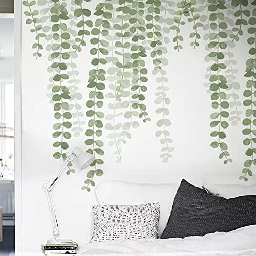 Pegatinas de pared de vid de hoja verde 3D para sala de estar Fondo de TV calcomanías de pared autoadhesivas vinilo Diy murales de pared decoración del hogar