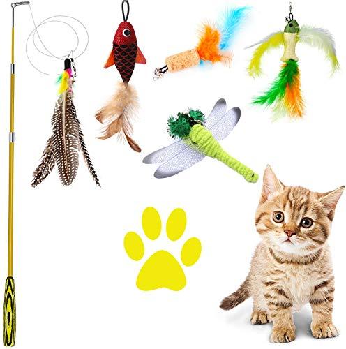 QIMMU Federspielzeug Katze, Katze Teaser Zauberstab,Einziehbare Katze Teaser, Katzen Angel, katzenfeder, katzenangel Feder Interaktives Spielzeug mit Federn, 5 Befestigungen