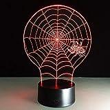 Yujzpl 3D Optische Illusions-Lampen, 3D Nachtlicht,Tolle 7 Farbwechsel-Nachtlicht Mit Usb Kabel-Für Kinder Schlafzimmer Geburtstagsgeschenke Geschenk-Spinne Und Spinnennetz