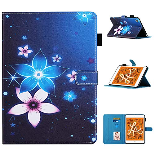 Case for Apple iPad mini 1/2/3/4/5 Colorful PU Leather Cases Covers Wallet Skin Shell Smart Cover with Pocket,Auto Sleep/Wake,Kickstand ,Support Tablet Pencil Charging Protective - Glowing Flowers