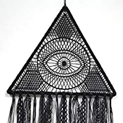 DUGYIRS 2 Pieces Black Dream Catcher Handmade Crochet Evil Eye Design with Lace Triangle Round Dream Catchers Gothic Wall Art Decorations Hanging for Home Ornament Christmas Festival Gift #2