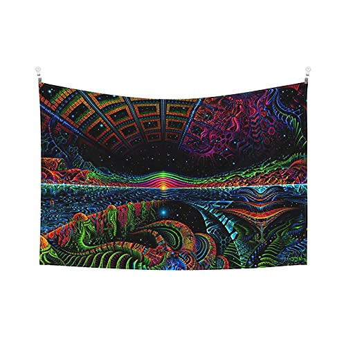 Tapiz psicodélico del tiempo de hongos Tapiz de túnel encantado planeta mágico fresco fantasía tapices galaxia para dormitorio, sala de estar dormitorio 156 x 100 cm