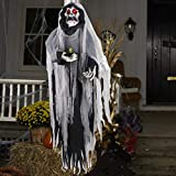 Halloween Hanging Ghost - Large Life-size Halloween Prop Skull with LED Glowing Eyes and Creepy Shrilling Sound - Scary Grim Reaper with Detachable Bendable Arms - Perfect for Halloween Party D¨¦cor
