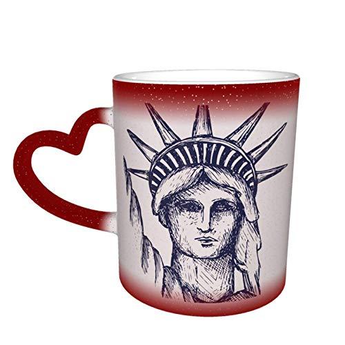 New York Statue Of Liberty Starry Sky Taza de cerámica de café mágico que cambia de color, un regalo novedoso e interesante, un regalo para el día de San Valentín, 11 oz