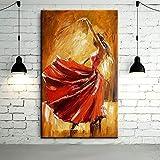 zuomo Bailarina de Flamenco española, Pintura al óleo sobre Lienzo, Bailarina de España, Bailando con Vestido Rojo, Pinturas Impresas, 60x90cm, sin Marco