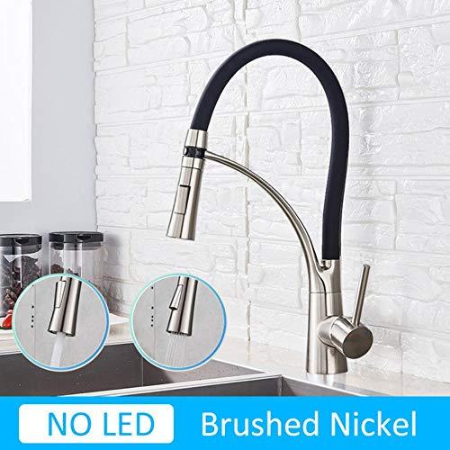 5151BuyWorld waterkraan, mat, LED, keukenkraan, chroom, zwart, 360 kraan, waterdraaiing, voor keuken kraan No Led- Brush Nickel