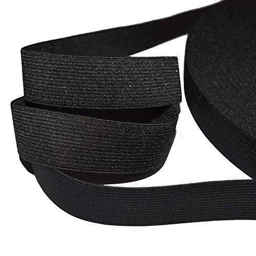 designers-factory Ruban élastique Noir, Largeur 25mm - Elastique Perruque - Elastique Couture de Belle qualité (par 2 mètres)