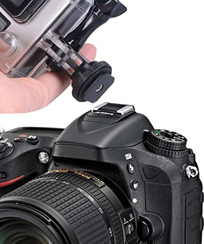 Smatree full aluminum tripod screw to dslr camera flash cold shoe mount adapter compatible for gopro max/9/8/7/6/5/4/3… 6 fully compatible with all versions of gopro cameras. Connect the bottom part of this tripod to the camera hot shoe. (not compatible with cold shoe) convenient to attach your camera to your dslr.