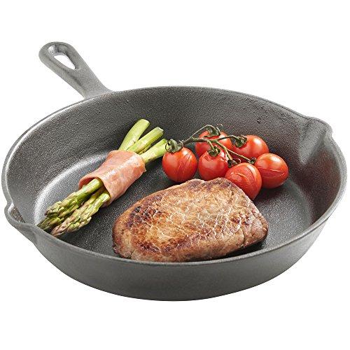 VonShef Bratpfanne Schwarz Gusseisen - Grillpfanne Schmorpfanne Steakpfanne, 25 cm, Bereits mit pflanzlichen Ölen eingebrannt