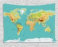 Bigleader地図のタペストリー、世界地理大陸および国の地図創造的な家の装飾壁掛けタペストリー150x100cm