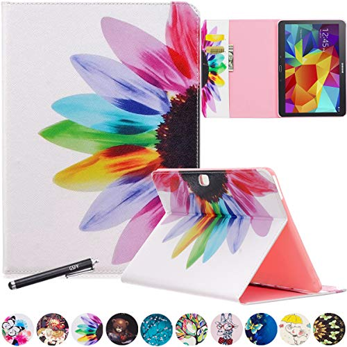 Galaxy Tab 4 10.1 Case - Newshine Stand Folio Case Cover for Samsung Galaxy Tab 4 10.1 Inch Tablet SM-T530NU, with Multiple Viewing Angles, Document Card Pocket (Rainbow Flower)