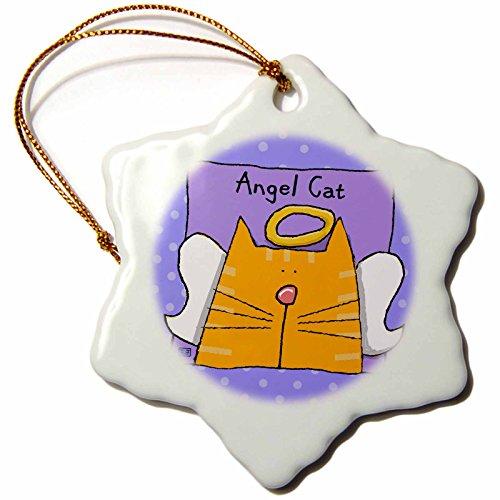 3dRose ORN_36663_1 Angel Orange Tabby Cat Cute Cartoon Pet Loss Memorial Porcelain Snowflake Ornament, 3-Inch