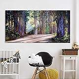 N / A Pintura sin Marco Mural de Pintura al óleo, Sala de Estar en el Bosque, Cuadro de Paisaje, decoración del hogar ZGQ7298 30x60cm