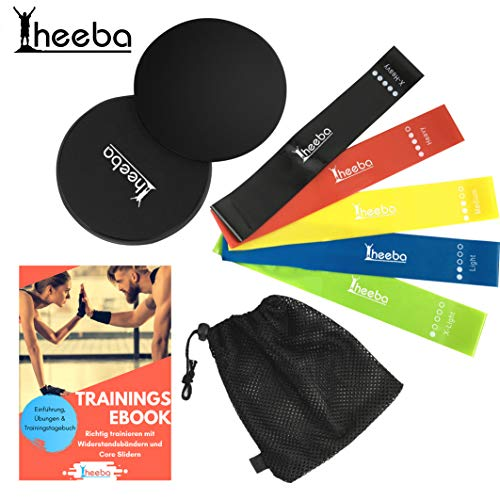 heeba Resistance Hip Bands Multiband Fitness Widerstandsbänder 5er Premium Set mit Core Sliders Fitness Scheiben - eBook Anleitung und Beutel - perfekt für Martial Arts Booty Builder Workout und Yoga