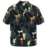 Small Black Cocktail Party Paradise Drinks Hawaiian Aloha Shirt