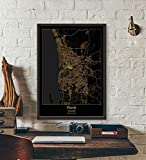 ZWXDMY Leinwand Bild,Australien Perth City Map Schwarze Und