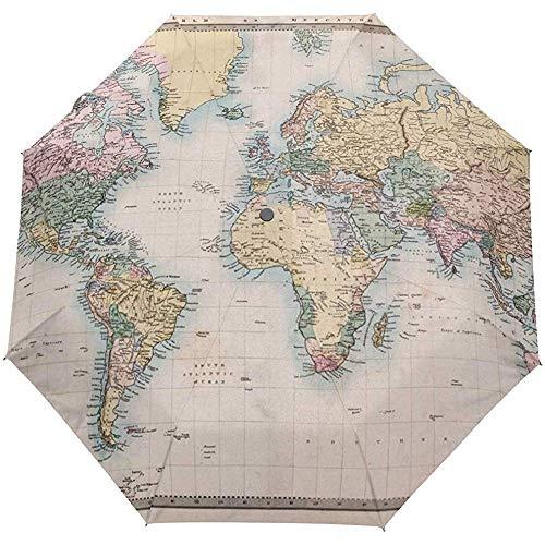 Paraguas automáticos Vintage Geométrico Mapa del Mundo A Cuadros Antideslizante A Prueba...