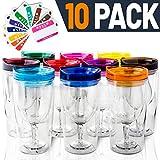 Weinglas mit Deckel, isoliert, 10 Stück, mit Namensaufklebern, Acryl-Kunststoff, 284 ml, in 10 Farben – für Erwachsene, unzerbrechliches Weinglas