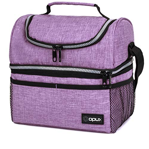 Insulated Dual Compartment Lunch Bag for Women, Ladies   Double Deck Reusable Lunch Box Cooler with Shoulder Strap, Leakproof Liner   Medium Lunch Pail for School, Work, Office (Heather Purple)