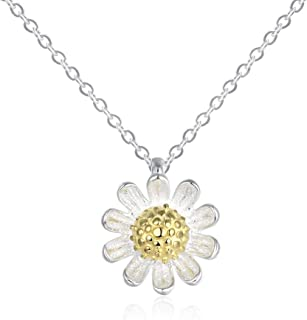 Daisy Flower Pendant Necklace for Women Little Girls Kids S925 Sterling Silver Tiny Small Floral Sunflower Two Tone Pendant Vintage Delicate Trendy Choker Simple Chain Cute Jewelry Birthday Gift Box