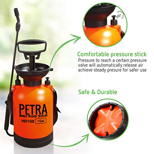 PetraTools 1-Gallon Pump Sprayer - Lawn and Garden Pressure Sprayer - for Weeds, Water, Chemical, Pesticide, Disinfectant - Spray Bottle Hand Pump, HD100