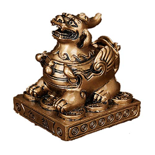 JYKFJ Feng Shui Resin Pixiu Pi Yao Statue Figure on Base Home Office Decoration Symbol for Wealth (Bronzo)