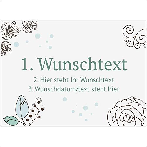 8 x Personalisierte Gruß-Karten mit Ihrem Wunschtext, Motiv Grafisch Modern Türkis, als Einladung, Save The Date, Dankeskarte oder Geburtstagskarte, DIN A6