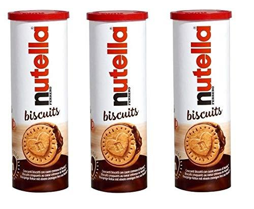 Nutella Biscuits - 3 o 6 Confezioni di Nutella Biscuits da 166g a Forma di Tubo con Pratico Tappo Richiudibile (3 Tubi)