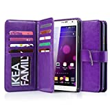 J.west Galaxy Note 3 Case, Galaxy Note 3 Wallet Case,Premium PU Leather Case Magnetic Wallet Credit Card ID Holder Flip Cover Case with 9 Card Slots Wrist Strap Case for Samsung Galaxy Note 3 Purple