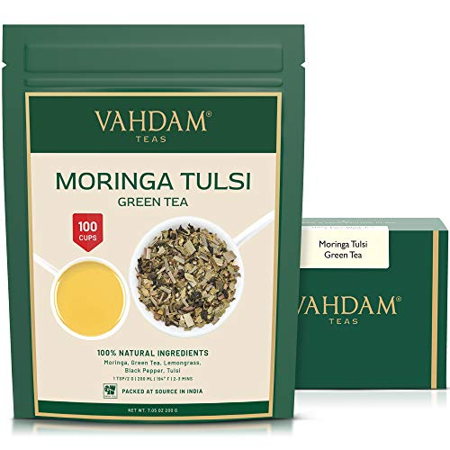 VAHDAM, Té Verde de Moringa y Tulsi – Set de 2 (100g x2) +100 Tazas| 100% Ingredientes Naturales| TÉ VERDE A GRANEL | Saludable MORINGA + ALBAHACA + TÉ VERDE | Mezcla de Té Pura y Refrescante