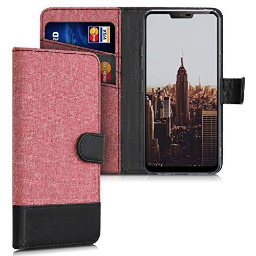 Preisvergleich Produktbild kwmobile Hülle kompatibel mit LG G7 ThinQ / Fit / One - Kunstleder Wallet Case mit Kartenfächern Stand in Altrosa Schwarz