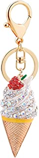Luxurious Ice Cream Rhinestones Alloy Pendant Keychain Car Key Ring Bag Hanging Fine Workmanship Decor Souvenir Daily Life...