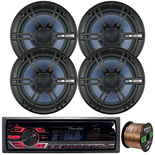"""Pioneer Single-DIN in-Dash CD Player AM/FM Car Stereo AUX Receiver Bundle Combo with 4 x Enrock Audio 6.5"""" 2-Way Marine-Grade Coaxial Car/Boat Audio Stereo Speakers, 16-Gauge 50Ft. Speaker Wire"""