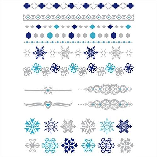 Oblique Unique® Schneeflocken Tattoo Set 42 Kindertattoos - Verschiedene Schneeflocken Herzen Tribal Motive Kinder Spielen