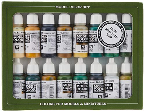 Vallejo Model Color Set - Wwii Allies (X16 Colours) - Val70109