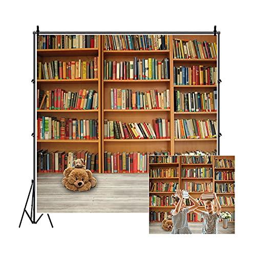 Leowefowa 5X5FT Bookshelf Backdrop Retro Bookcase Backdrops for Photography School Library Interior Study Room Lovely Bear Books Shabby Wood Floor Vinyl Photo Background Kids Students Studio Props