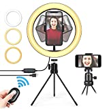 "10"" LED Ring Light with Tripod Stand, Dimmable Selfie Ring Light with 3"