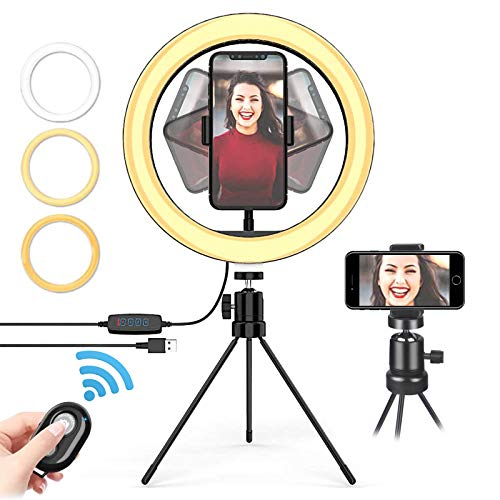 Ring Lights with Tripod Stand & Phone Holder, 10 ''Selfie light Usb led...