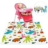 Baby-Hochstuhl-Matte, niedlich, wiederverwendbar, waschbar unter Hochstuhl-Fütterung, Boden-Abdeckung, Bodenschutz, Essenssplat, verschüttete Tischmatten und tragbare Spielmatte für Kinder Kleinkinder