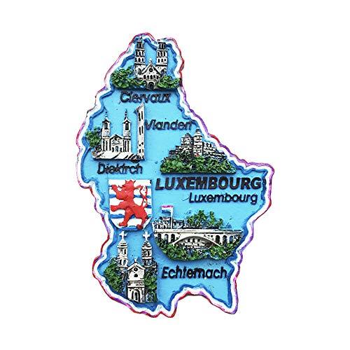Luxemburgo - Imán para nevera en 3D, diseño de mapa de Luxemburgo