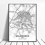 zhuifengshaonian Póster Mapa de España de Tarragona, Salamanca, Ibiza, Granada, Cádiz, Málaga (ZW-1788) Sin Marco Poster 40x60cm