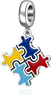 Autism Awareness Charm 925 Sterling Silver Puzzle Piece Enamel Colorful Charms and Live Love Laugh Beads for Bracelets