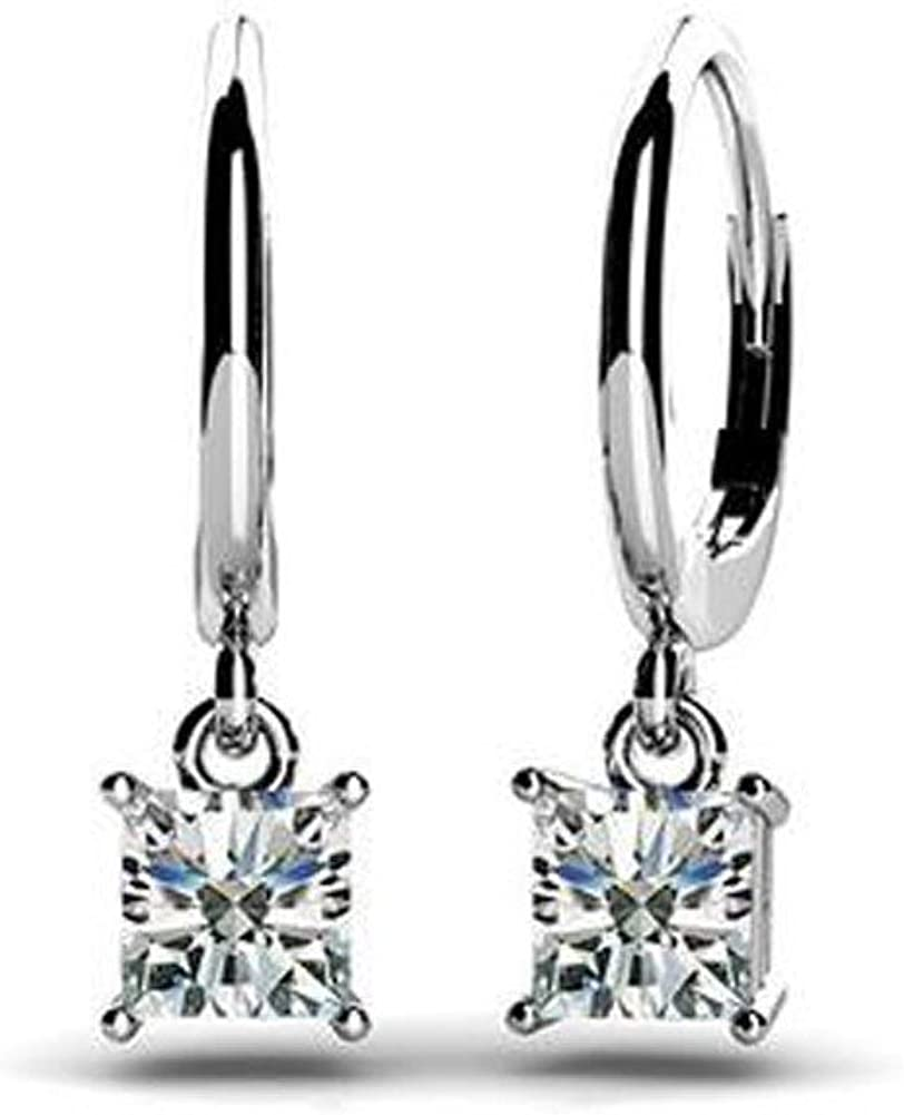 0.60ct Lady's Los Angeles Mall Princess Cut Diamond G Color Drop Dangle Earrings Cheap mail order shopping