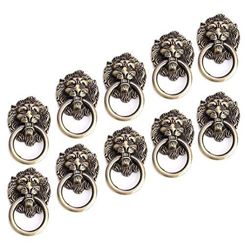 Möbelknöpfe, Antik-Bronze, Schubladengriffe, Türbeschläge, Schrankknauf, Ziehknauf, Cartoon-Löwenkopf, 10 Stück