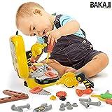 BAKAJI Valigetta Attrezzi per Bambini Giocattolo con Accessori Fai da Te Portatile 31 Pezzi, con Sega Tagliatrice ad Effetti Reali