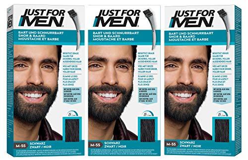 Just for Men 3 x Barba E Baffi Colore Permanente con Pennello Senza AMMONIACA Nero M 55 2X 14 ML