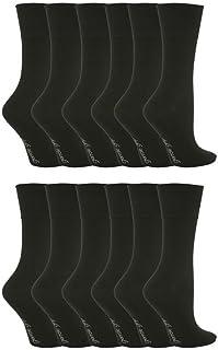 Gentle Grip, 12 Paquete Mujer Estampado De Ancho Top Agarre Suave Calcetines in 20 styles