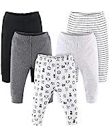 The Peanutshell 5 Pack Baby Pants Set | Black, Grey, Safari Animals | Newborn to 24 Month Sizes (6 Months)