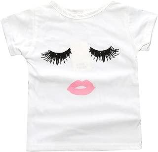 Baby Girls Eyelashes Lips Short Sleeve BFF White T-Shirt Tops Tee